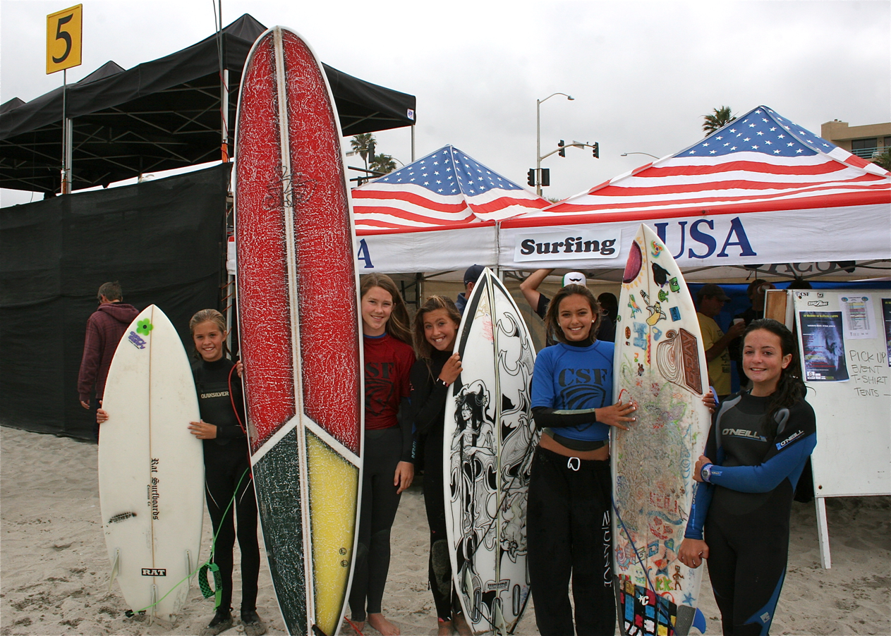 Surfers at Carlsbad Beach Fest 2012